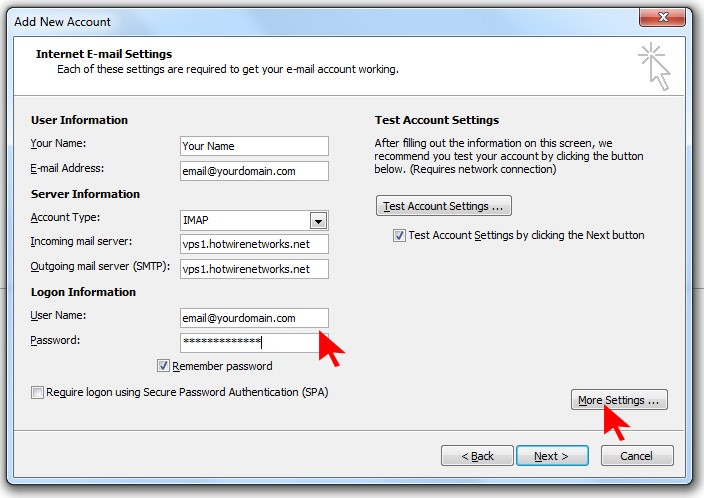 How to setup an email account using Microsoft Outlook on Hotwire Networks Shared Servers - Step 11