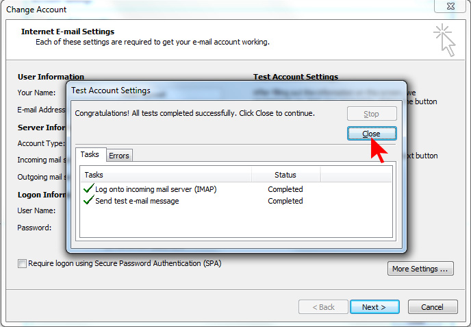 How to setup an email account using Microsoft Outlook on Hotwire Networks Shared Servers - Step 14