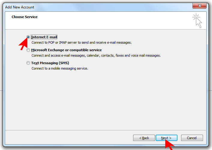 How to setup an email account using Microsoft Outlook on Hotwire Networks Shared Servers - Step 8